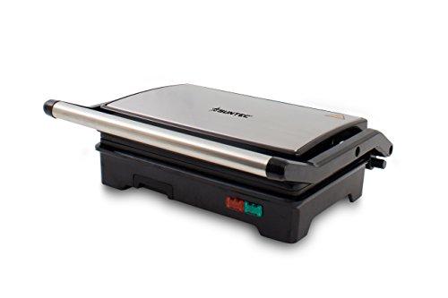 SUNTEC Elektro Kontaktgrill KGR-8373 Compact | Tischgrill aus Edelstahl | Grill für Panini, Sandwich, Toast, Fleisch, Burger, Gemüse | Elektrisch Grillen ohne Fett