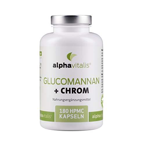 Endlich abnehmen mit Glucomannan + Chrom Kapseln - 4000 mg - 180 Kapseln - ohne Magnesiumstearat - Laborgeprüft - 30 Tage Kur - vegan