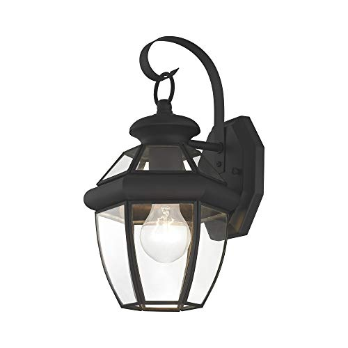 Livex Lighting 2051-04 Monterey 1 Light Outdoor Black Finish Solid Brass Wall Lantern with Clear Beveled Glass