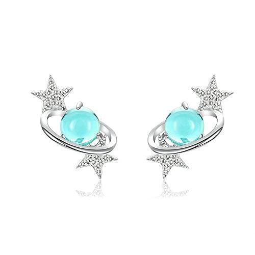 Pendientes Mujer Planeta Azul con Aretes De Estrella para Mujer Diseño De Plata De Ley 925 Universe Jewelry Silver