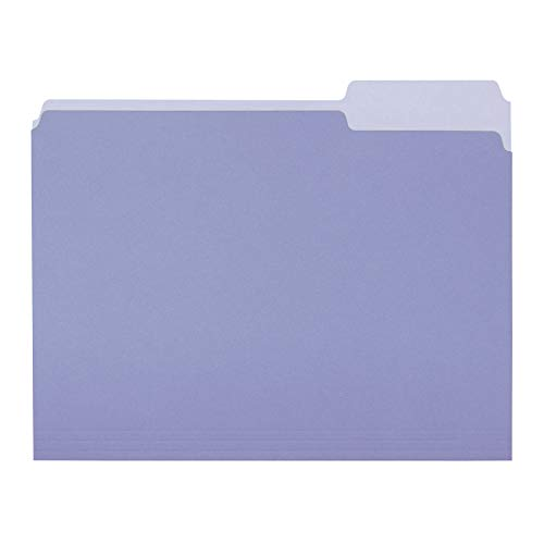 AmazonBasics File Folders, Letter Size, 1/3 Cut Tab, Lavender, 36-Pack