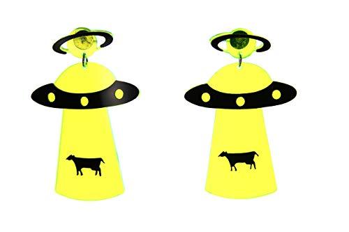 pretty_awesome UFO Alien Kuh Entführung Raumschiff Untertasse I Want to believe Neon Gelb 80er Retro Acryl