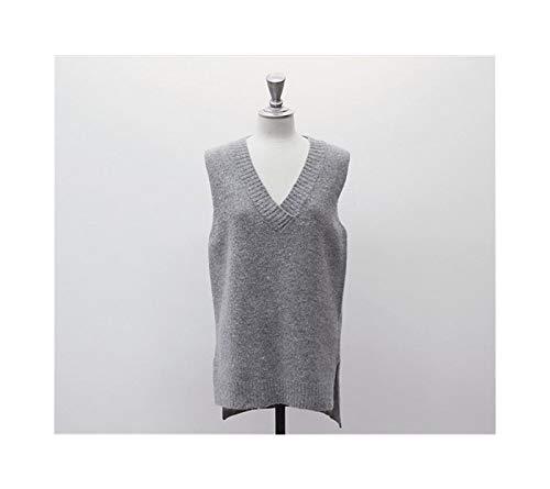 AiKoch Invierno Sin Mangas con Cuello En V Chaleco Suéteres De Las Mujeres Otoño Solid Jerseys Tricot Home (Color : Gray, Size : XL.)