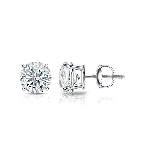 IGI Certified 1 Carat Round Lab Grown Diamond Stud Earrings in 14k White Gold (E-F, SI1-SI2), 4-Prong Basket Screw Back by Diamond Wish