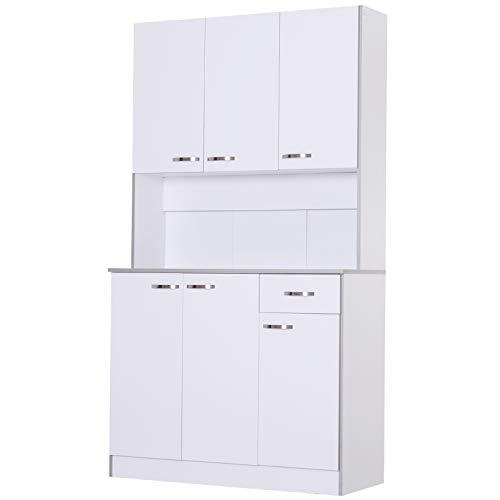 HOMCOM Kitchen Cupboard Multi Storage Cabinet Wooden Dining Room Furniture Display Shelf Organizer Unit Microwave Cart White
