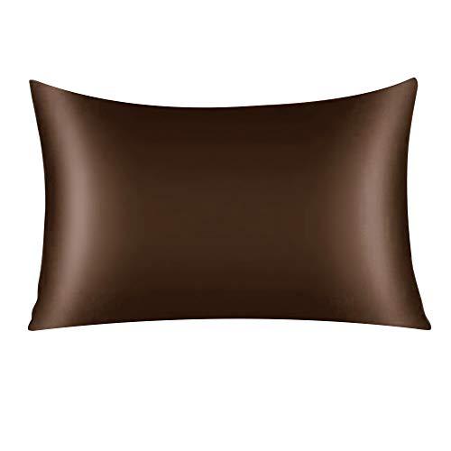 Brown Mulberry Silk Pillowcase for Hair and Skin Both Side Silk Pillow Cover Hidden Zipper Queen Size Pillow Case 20x30inch 1 Pack