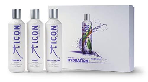 I.C.O.N. HYDRATION Regimedy Limited Edition Set - Drench Shampoo, Free Conditioner & Inner Home Treatment - 250ml