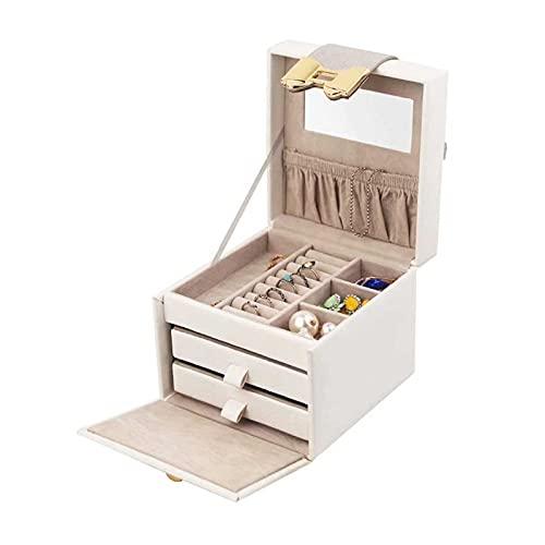 Adesign Joyería de madera Caja de terciopelo Pantalla Pulsera Organizador de anillo con espejo de bloqueo, collar Reloj de almacenamiento Estuche de almacenamiento PU Cuero Decorativo Tronco Pendiente