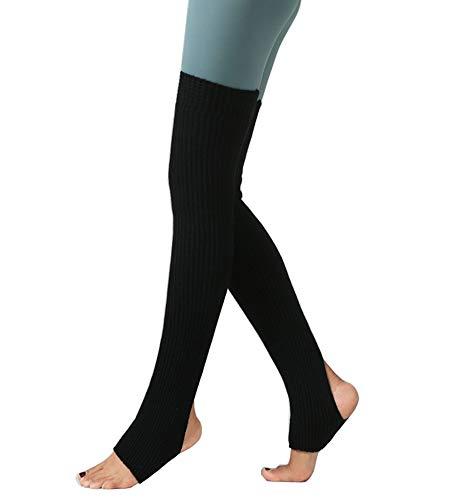 CHUNG Women's Over Knee Thigh High Warm Leg Warmers Stirrup Thermal 80s Long Socks Yoga Ballet Dance-Black