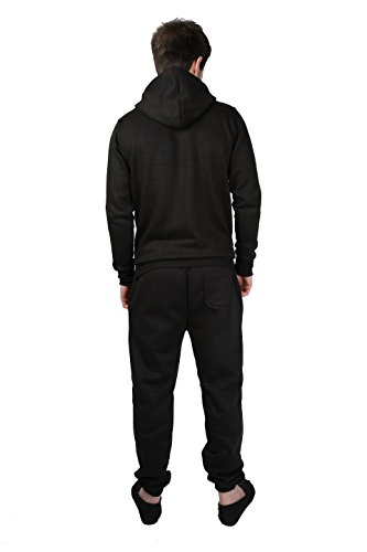 Parsa Fashions ® Mens Tracksuit Set Full Sleeve Fleece Zipper Hoodie Top Bottoms Jogging Joggers Gym CONTRAST And PLAIN Small to XX-Large (Medium, Black - Red)
