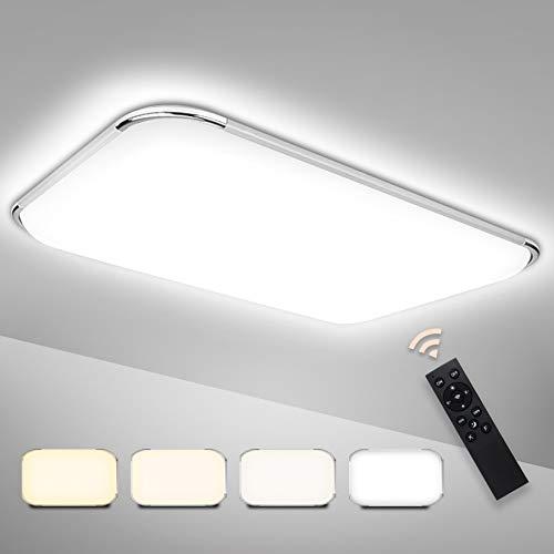 Hengda LED Deckenleuchte Dimmbar 48W Deckenlampe mit Fernbedienung Wohnzimmer Lampe für Schlafzimmer, Kinderzimmer, Büro, Küche, Flur, Bad, Innen