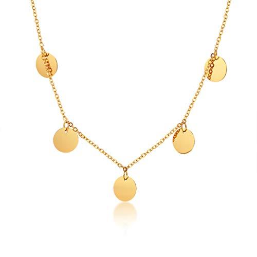 Cupimatch - Collar de acero inoxidable chapado en oro con colgante de moneda redonda, collar de eslabones para mujeres y niñas