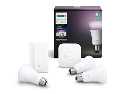 Philips Hue White and Color Ambiance - Set de 3 bombillas LED E27 con puente e interruptor, 10 W, iluminación inteligente, cambian de color, compatible con Apple Homekit y Google Home