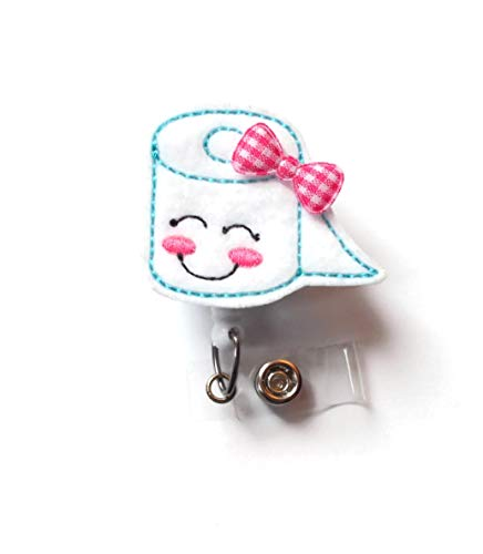 Smiling Toilet Paper with Bow Retractable Id Badge Reel - Teacher Badge Holder - Cute Badge Reel - Nurse Badge Holder - Nursing Badge - Felt Badge - Science Badge Reel (Alligator Swivel Clip)