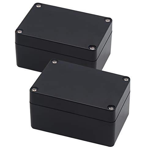 Zulkit Project Box ABS Plastic IP65 Waterproof Dustproof Electrical Junction box Enclosure Black 3.94 x 2.68 x 1.97 inch (100X68X50mm) (Pack of 2)