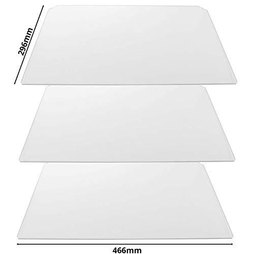 SPARES2GO - Estante de plástico flexible para ensalada de frigorífico Zanussi (transparente, 466 x 296 mm, 3 unidades)