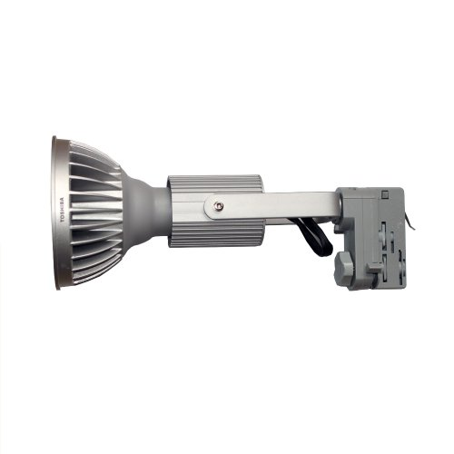 Set 3-Phasen PAR Strahler mit LED Toshiba 18,8W PAR38 Warmweiß 3000K 3300cd 25° E27 passend für Erco Staff Ivela silber DIMMBAR