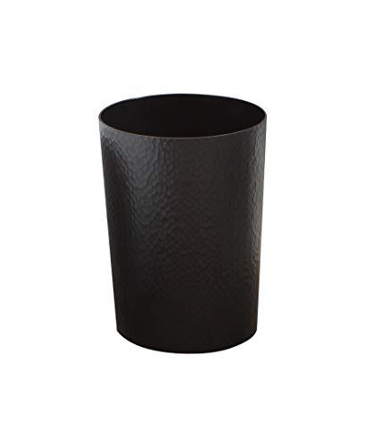 Bath Bliss Hammered Design Textured, Round Open Top 10 Liter Trash Can in Black for Bathroom, Bedroom, Kitchen Disposal Waste Bin