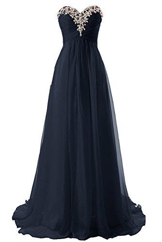 Abendkleider Ballkleider Lang Damen Brautjungfernkleid Festkleider Chiffon A Linie Marineblau EUR38