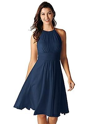 ALICEPUB Halter Navy Blue Bridesmaid Dresses Chiffon Short Formal Party Dress for Women, US12
