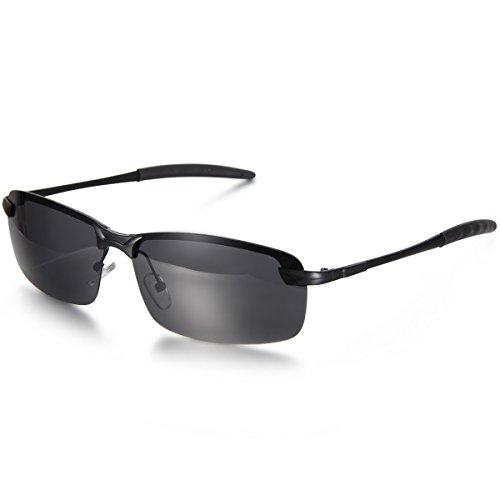 Aroncent Gafa de Sol Polarizada UV400 Semi-Marco Lente de Resina de Moda Protección de Ojos para Carreras, Viaje, Conducción, Golf, y Actividades Exteriores para Hombre Mujer Unisex (Negro)
