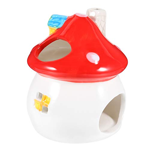 POPETPOP Hamster Hideout Ceramic Mushroom Shape Hamster House Chinchilla Mini Hut Small Animal Hideout Caves Cage for Syrian Rats Chinchillas Gerbils