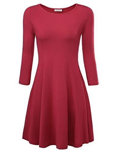 BAISHENGGT Damen Skaterkleid Rundhals 3/4-Arm Fattern Stretch Basic Kleider Weinrot S