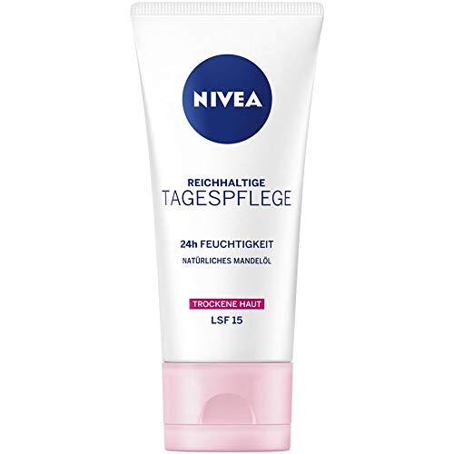 NIVEA Essentials Tagespflege 24h Feuchtigkeit mit Natürliches Mandelöl, LSF15 1er Pack (1 x 50 ml)
