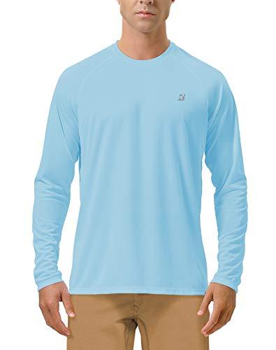 Roadbox Men's Sun Protection UPF 50+ UV Outdoor Long Sleeve Dri-fit T-Shirt Rashguard for Running, Fishing, Hiking(Medium, Blue)