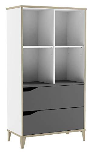DEMEYERE Libreria Genius 2 cassetti 4 fori bianco e grigio camera da letto cameretta bambini 130 x 70 x 35 cm