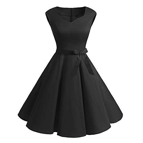 Cuello En V Color SóLido Vestido Negro PequeñO Encaje Falda Grande Swing 50s Vestido Retro CláSico