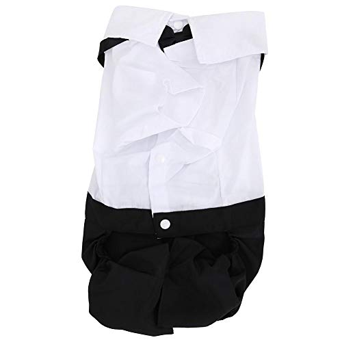 Huisdier Hond Mode Pak Puppy Boog Tie Kleding Hond Prins Bruiloft Boog Tie Pak Hond Jumpsuits Denim Broek Hond Bruiloft Shirt Formele Tuxedo met Zwarte Tie, XL, Zwart