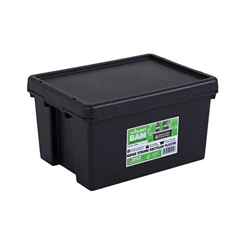 Wham Bam 100% Recycled Super Strong Impact Resistant Black Re-Usable Storage Boxes With Lids 16 Litre 38.5 x 29 x 21.5cm (1 Box)