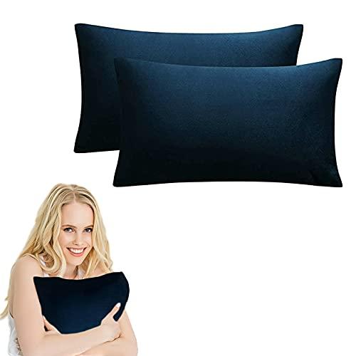 Dodheah Paquete de 2 Terciopelo Funda de Cojine 30x50 Extra Suaves Color sólido Throw Cojín Decoración Almohada Caso Lavable Sofá Cojín Sala Camas Azul