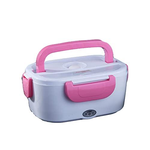 SIQI 12V Fiambrera con calefacción eléctrica Caja térmica Bento Calentador de alimentos con contenedor de comida de acero desmontable de 1.5L para automóvil (12V para automóvil)-pink