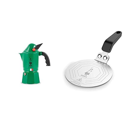Bialetti Moka Express Alpina, Cafetera Italiana Espresso, Aluminio + DCDESIGN08 Difusores de calor, adaptador para el utilizo de cafeteras y baterías de cocina sobre placas de inducción, Metal, Negro