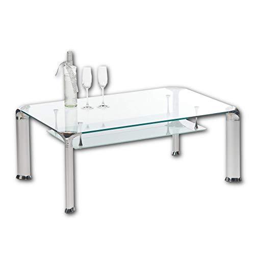 ALBERTO Couchtisch Glas mit Aluminium Gestell - geräumiger Glastisch mit Ablage für Ihren Wohnbereich - 110 x 43 x 70 cm (B/H/T)