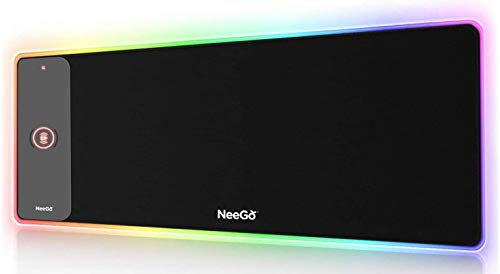 NEEGO RGB Gaming Mouse Pad, LED Soft Large Mousepad with Ajdustable Lighting, Smart Memory Function, Wireless Charging, Anti-Slip Rubber Base, Computer Keyboard Mouse Mat 31.5 x 12 inches