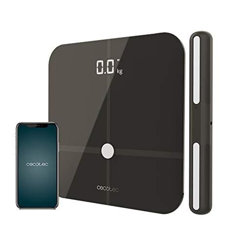 Cecotec Báscula de baño Healthy Pro Dark Grey Pro. App, Conectividad Bluetooth, Barra con sensores para medición bioimpedancia, 15 Parámetros, Diseño extraplano