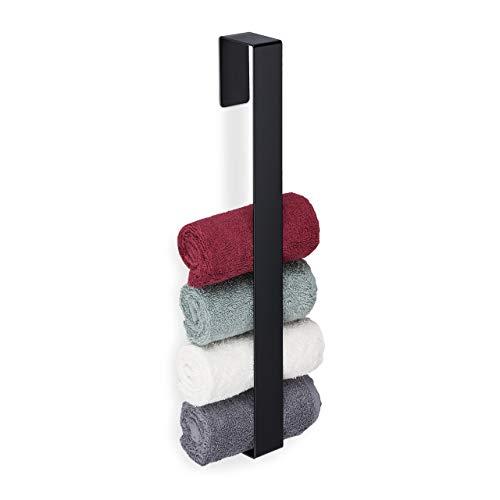 Relaxdays Handtuchhalter, 430er Edelstahl, Bad, Küche, selbstklebend, Handtuchstange ohne Bohren, HBT 45x4x6 cm, schwarz