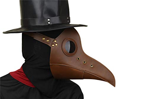 Party Story Plague Doctor Bird Mask Halloween Cosplay Costume Long Nose Beak Steampunk Party Decoration Props (Dark Brown)