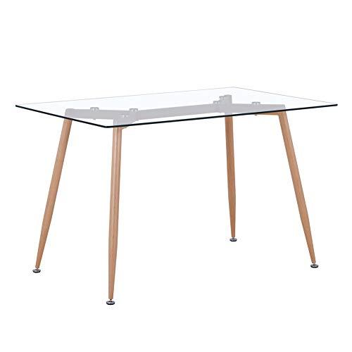GOLDFAN Glas Esstisch Küchentisch mit Hölzernen Beinen Moderner Stil Quadratischen Tisch für Wohnzimmer Büro Küche,Glas