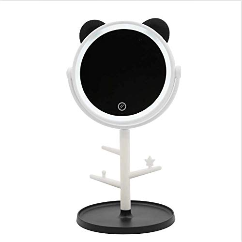 HWXDH Miroir de Maquillage avec lumière Écran Tactile Miroir de Maquillage Rond Rotatif à 360 ° Miroir de Maquillage, Noir, Noir
