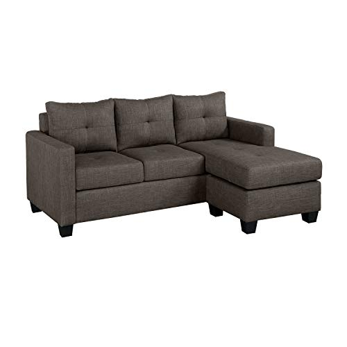 "Homelegance Phelps 78"" x 58"" Fabric Reversible Chaise Sofa, Grayish Brown"