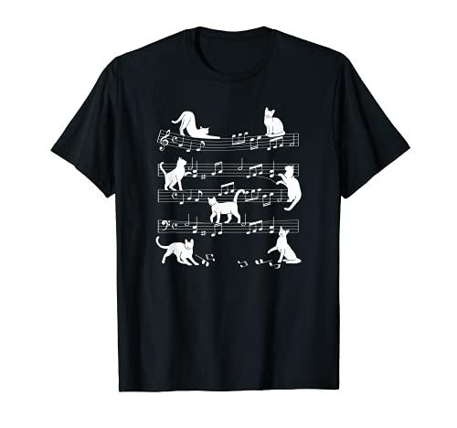 面白い猫 音符 男性 女性 子供 Tシャツ