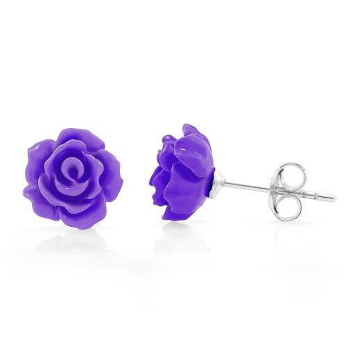 925 Sterling Silver Tiny Purple Rose Flower 9 mm Post Stud Earrings