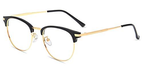 Firmoo Gafas con filtro de luz azul antirreflectante para hombre y mujer, para ordenador, sin visor, protección contra rayos UV, color negro