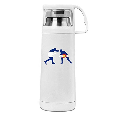 Bestqe Borraccia in Acciaio Inox,Termica Isolamento Colorado Flag Wrestling Lover Insulated Stainless Steel Thermos Cup Portable Water Bottle with Handle Vacuum Tea Cup Travel Mug