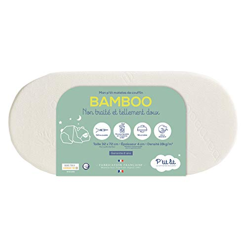 P'tit Lit - Materasso Culla Bambù - 72x32 cm - Dolce e delicata Viscosa per il Neonato - Ideale Culla e Carrozzina - Reversibile - Sfoderabile