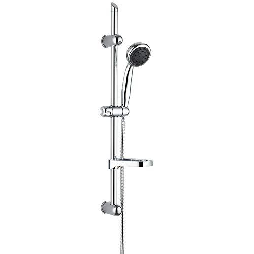 Dusch Set Brausegarnitur Komplett Set Handbrause Duschstange Duschschlauch Seifenschale Verchromt